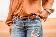 Buckstitch Tooled Skinny Belt