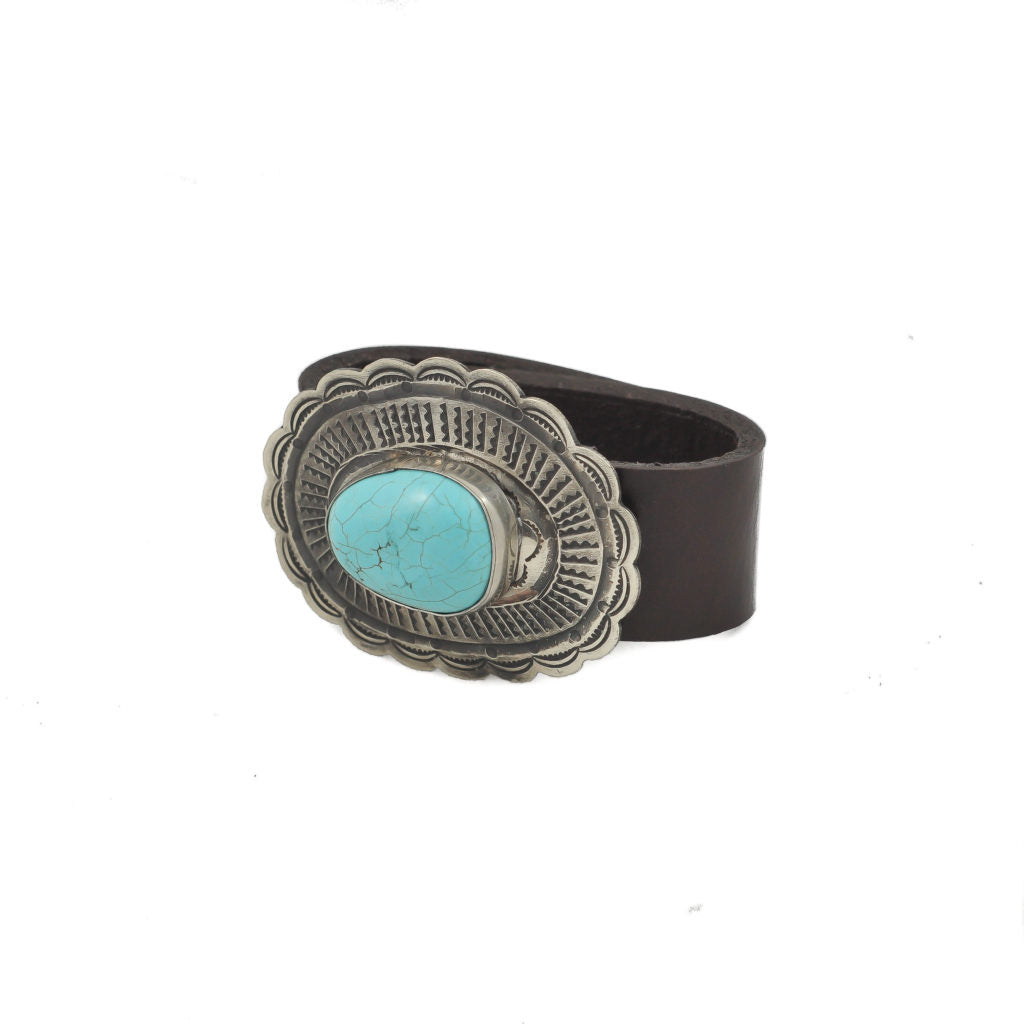 Oval Concho w/- Turquoise Leather Bracelet