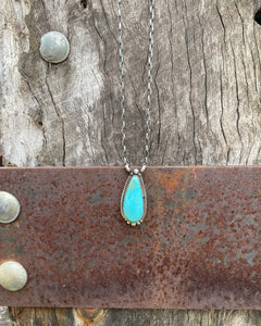 Kingman Turquoise Teardrop Pendant  Necklace