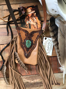 Buffalo Girl Gypsy Wanderer Bag / Phone Pouch with Turquoise