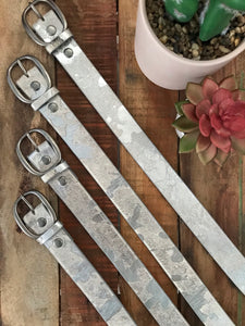 Silver Metallic Hide Belt