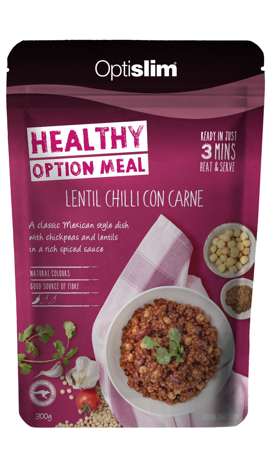 Healthy Option Meal Lentil Chilli Con Carne New! (Vegetarian) Weight Loss OptiSlim