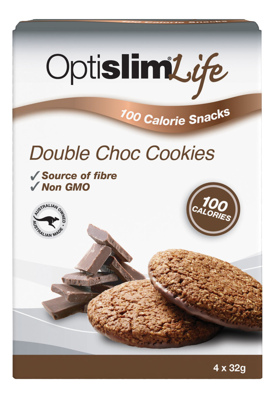 Optislim Life 100 Calorie Snacks Double Choc Cookies (4x32g) Weight Loss OptiSlim