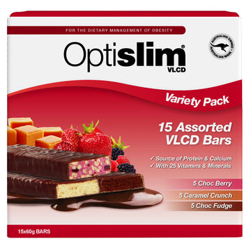 Optislim VLCD Bars Variety Pack (15x60g) Weight Loss OptiSlim