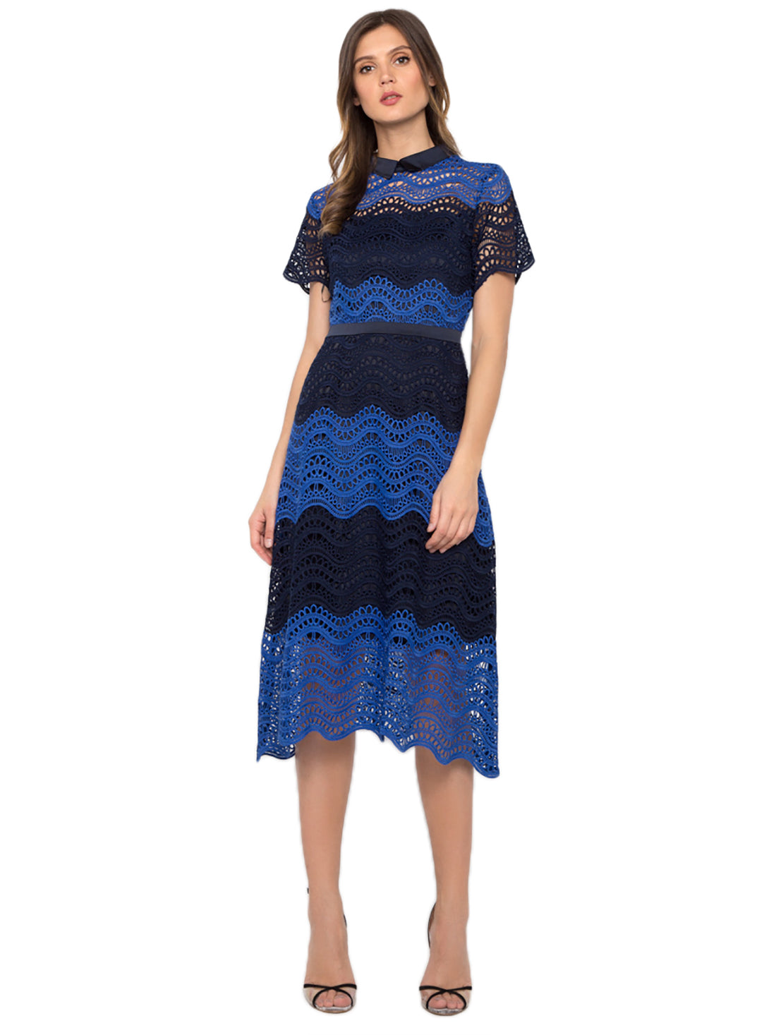 Contrast Blue Crochet Dress