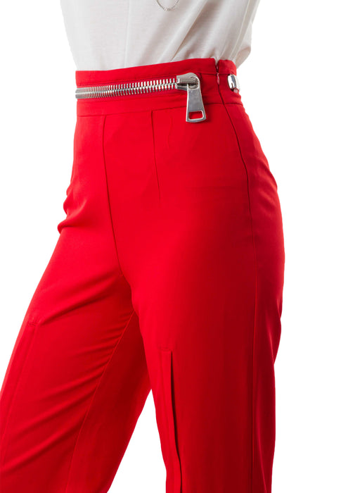 Zoey Zipper Red Pants closeup leftside