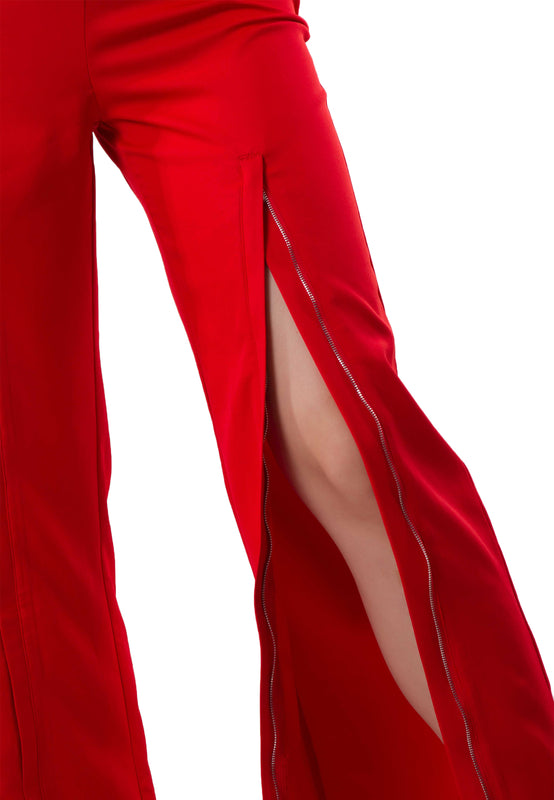 Zoey Zipper Red Pants left leg crap