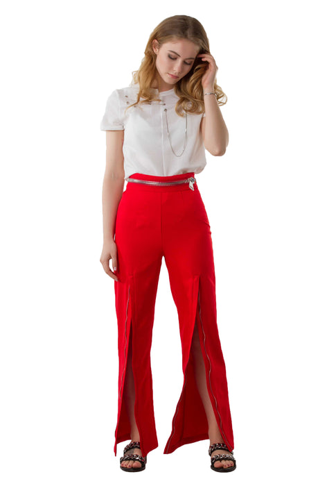 Zoey Zipper White Pants