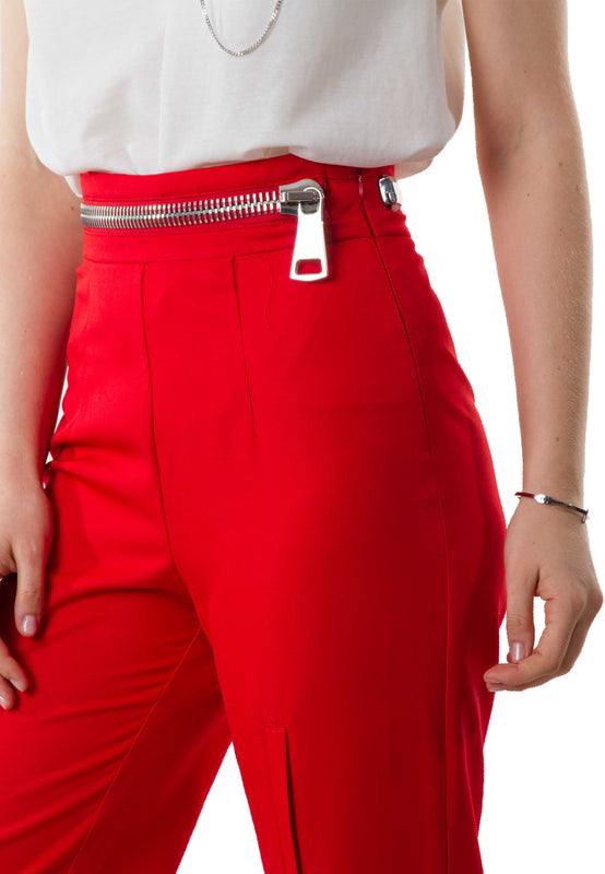 Zoey Zipper Red Pants closeup