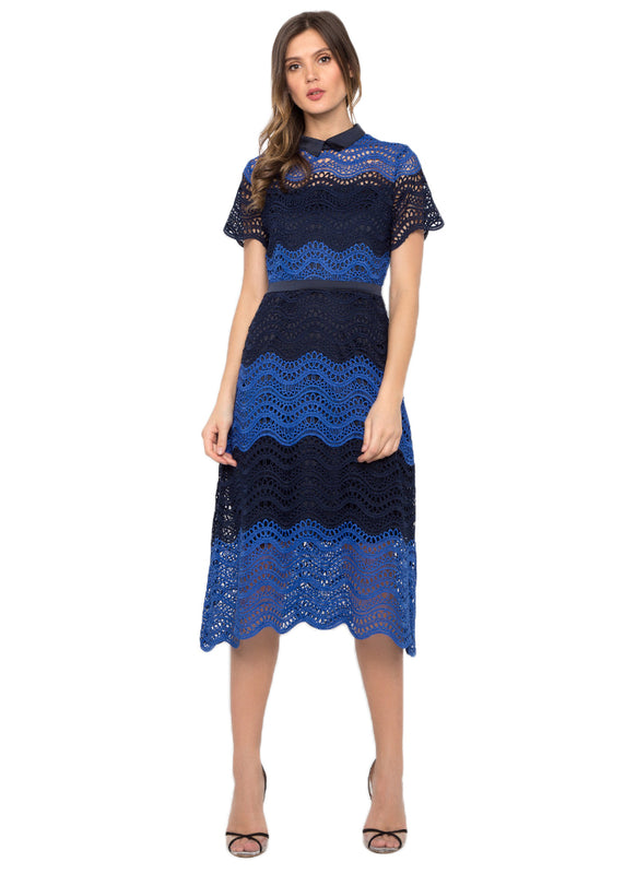 Contrast Crochet A Line Dress