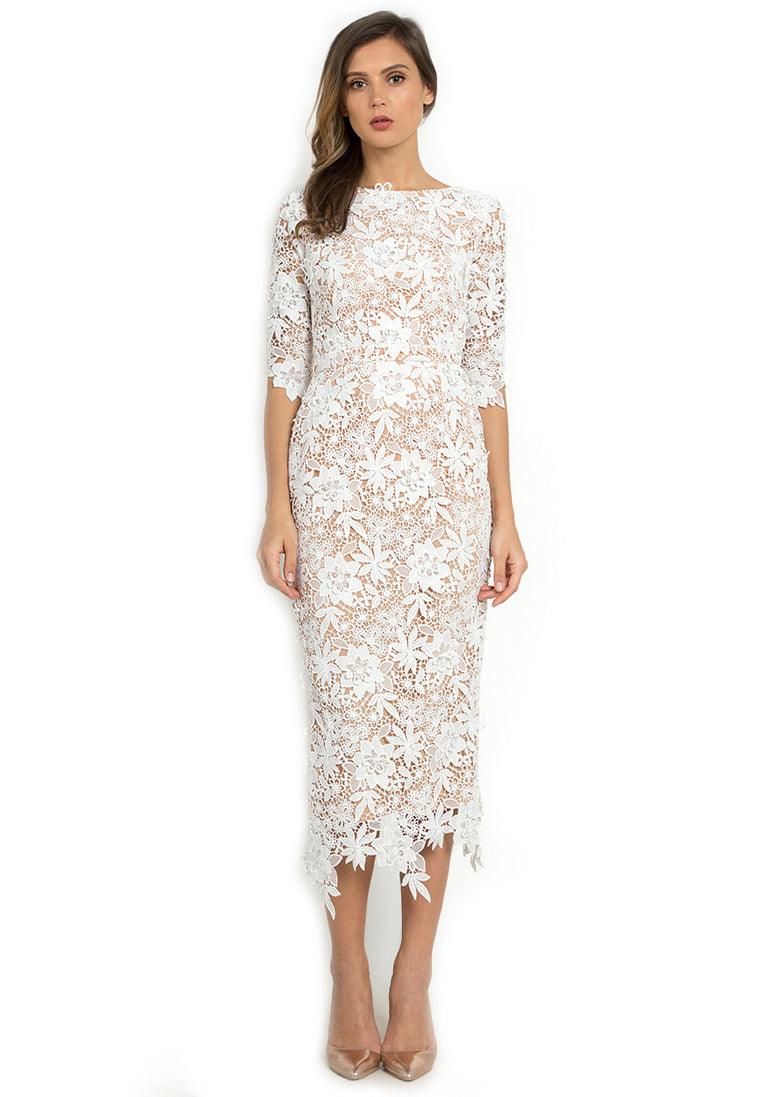 Chaste White Lace Dress