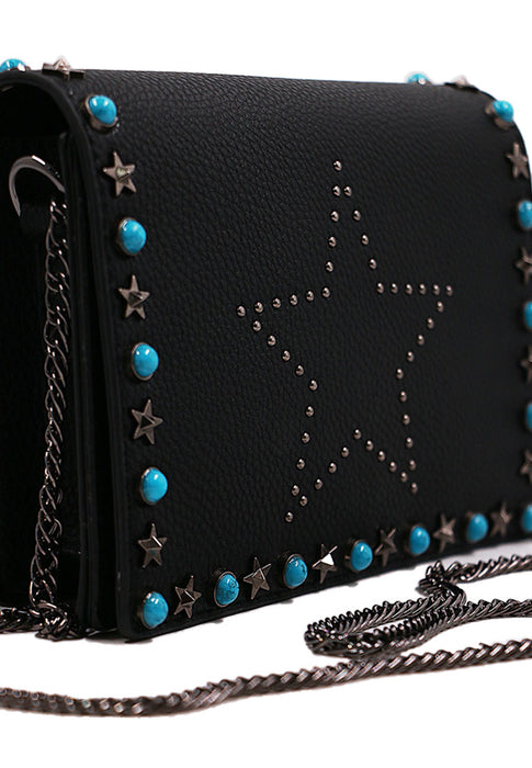 Blue Rivet Handbag closeup