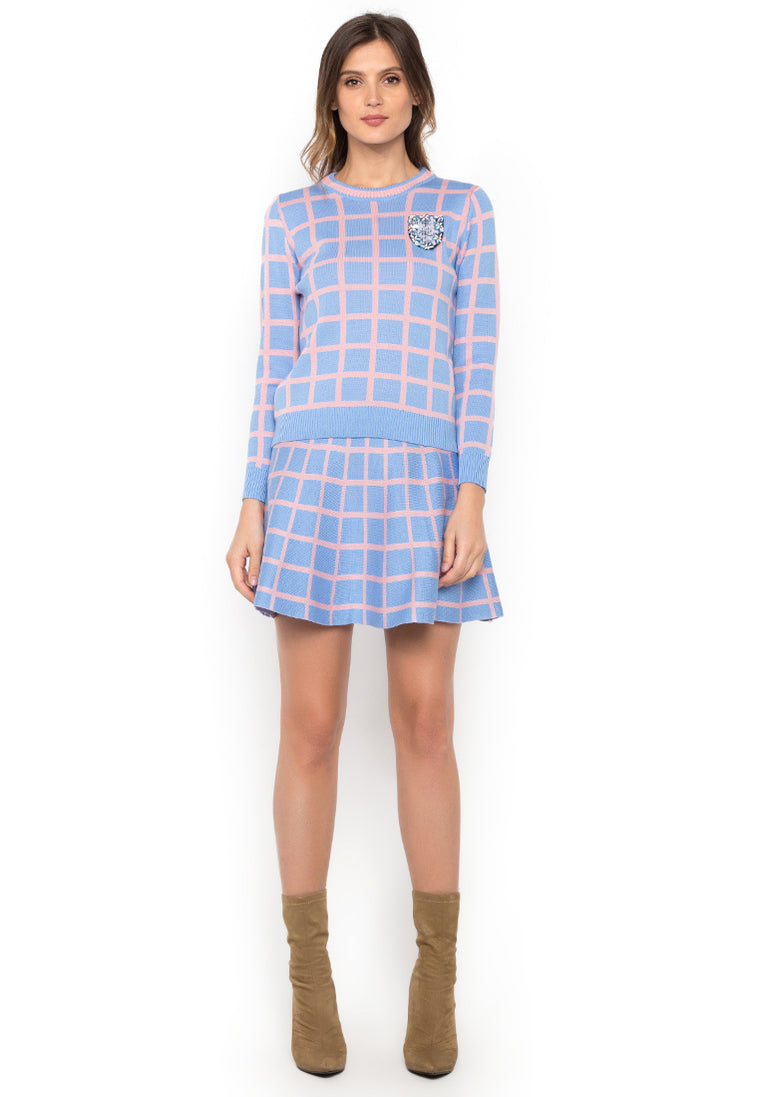 Pink & Blue Sweater with Mini Tent Skirt