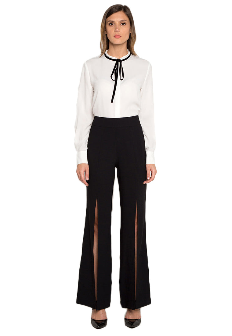 Black Flared Slit Trousers