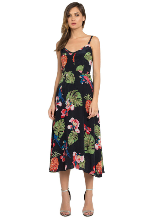 Leia Silk Midi Dress frontside