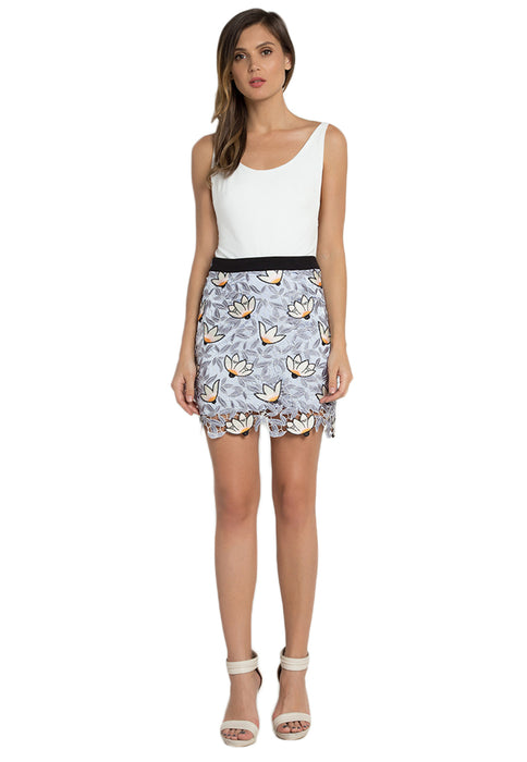 Floral Crochet Mini Skirt frontside