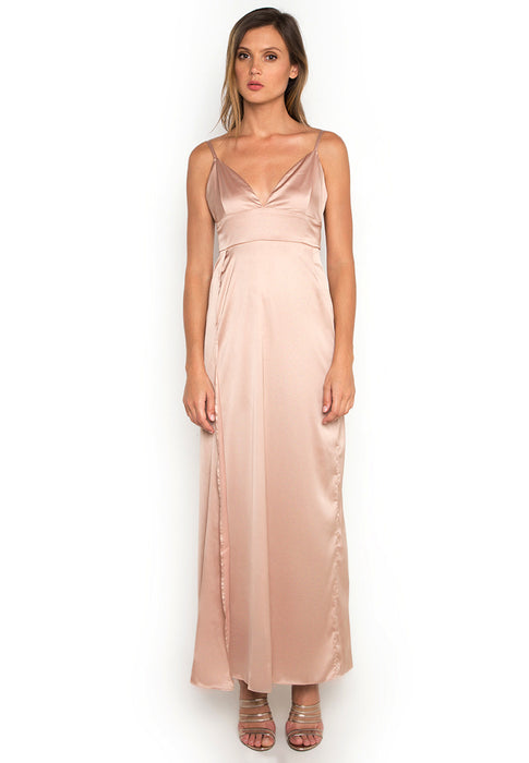 Satin Maxi Slitted Slip Dress