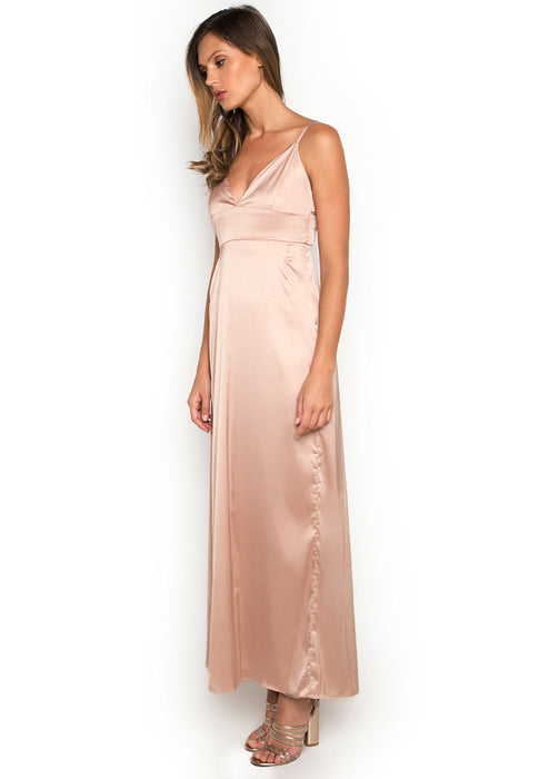Satin Maxi Slitted Slip Dress leftside
