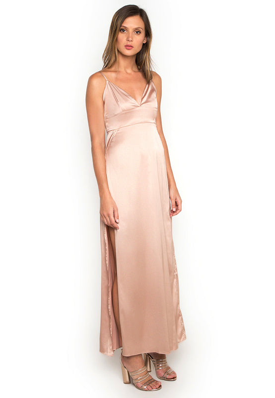 Satin Maxi Slitted Slip Dress rightside