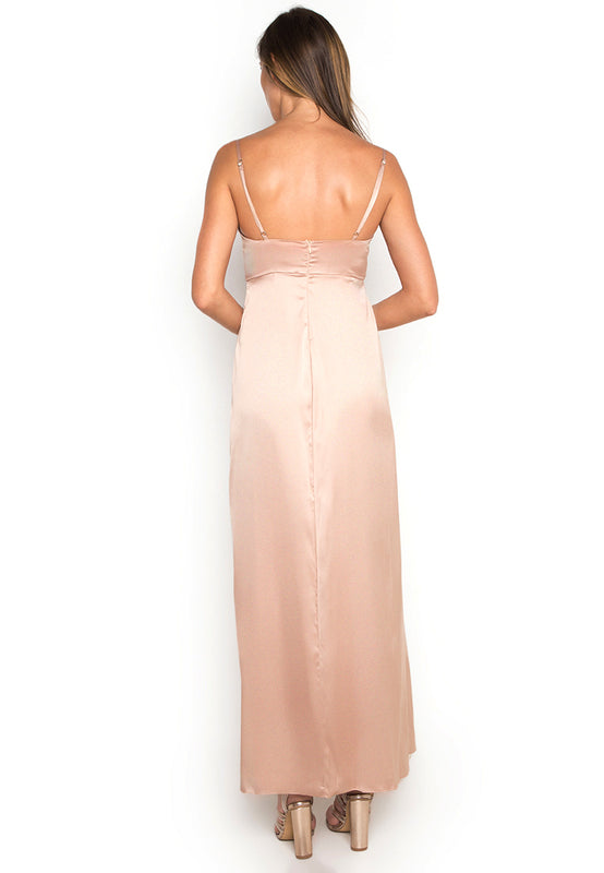 Satin Maxi Slitted Slip Dress backside