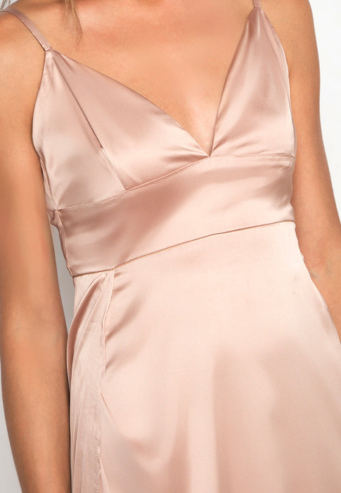 Satin Maxi Slitted Slip Dress closeup
