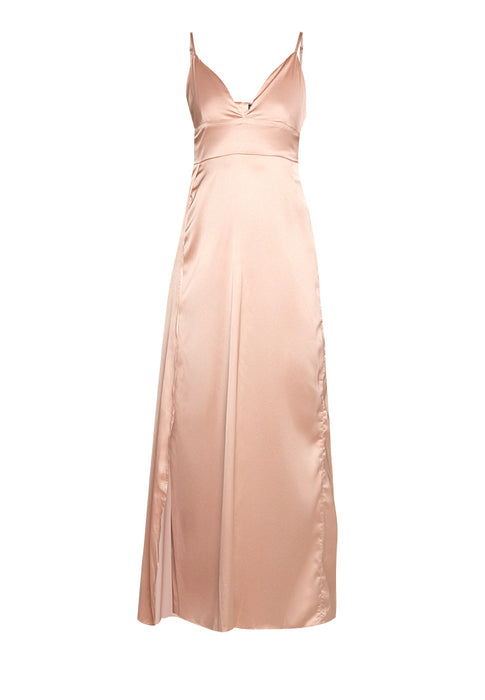 Satin Maxi Slitted Slip Dress noodel