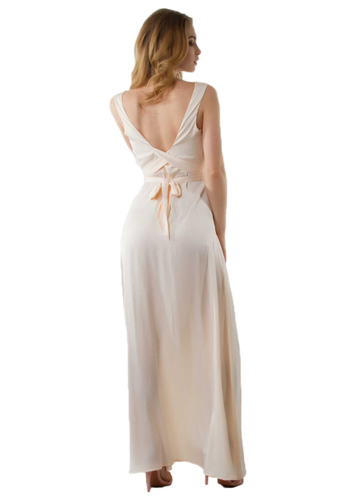 Zoey Satin Slit Maxi Dress backside