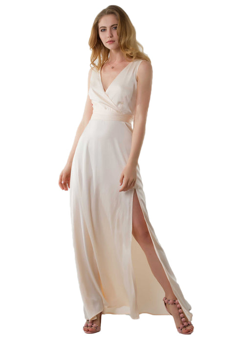 Zoey Satin Slit Maxi Dress