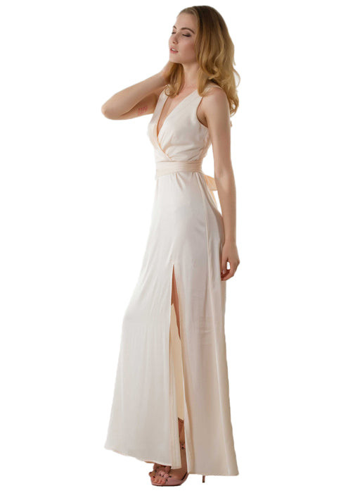 Zoey Satin Slit Maxi Dress leftside