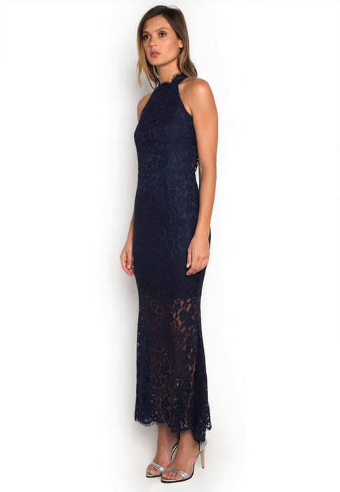 Halter Laced Maxi Dress leftside