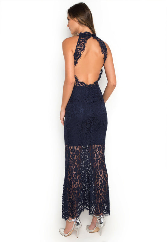 Halter Laced Maxi Dress backside