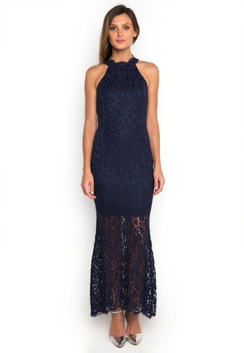 Halter Laced Maxi Dress frontside
