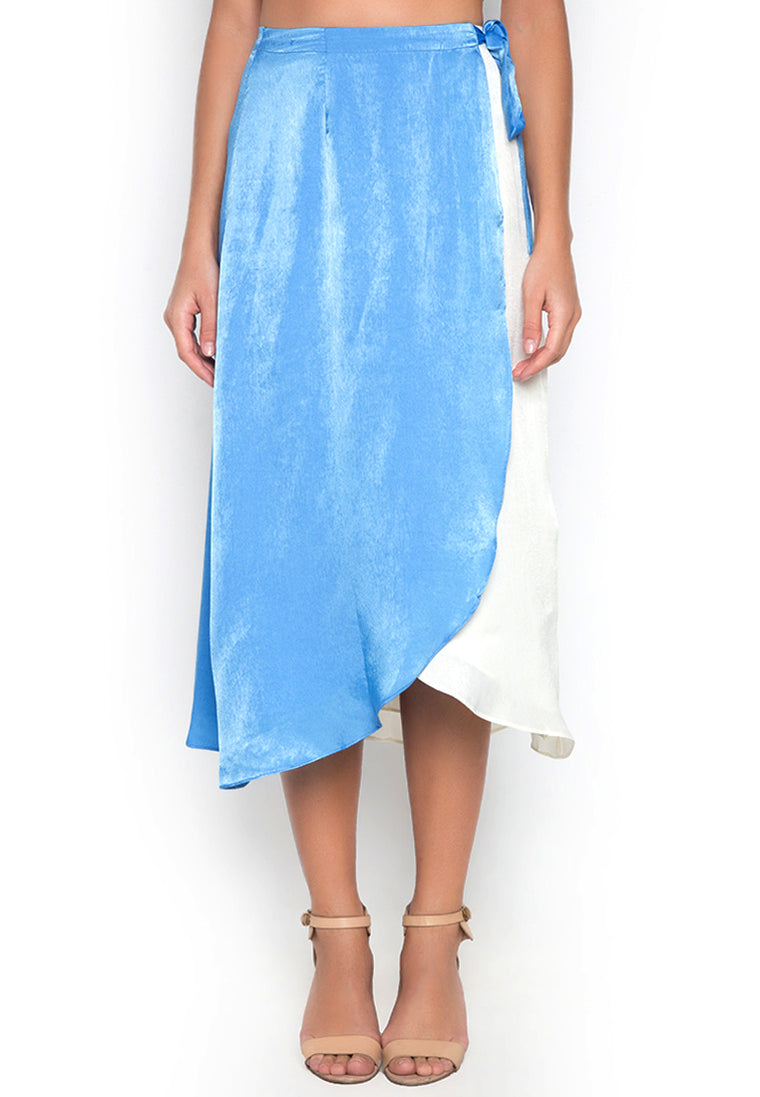 Blue Oceania Wrap Skirt
