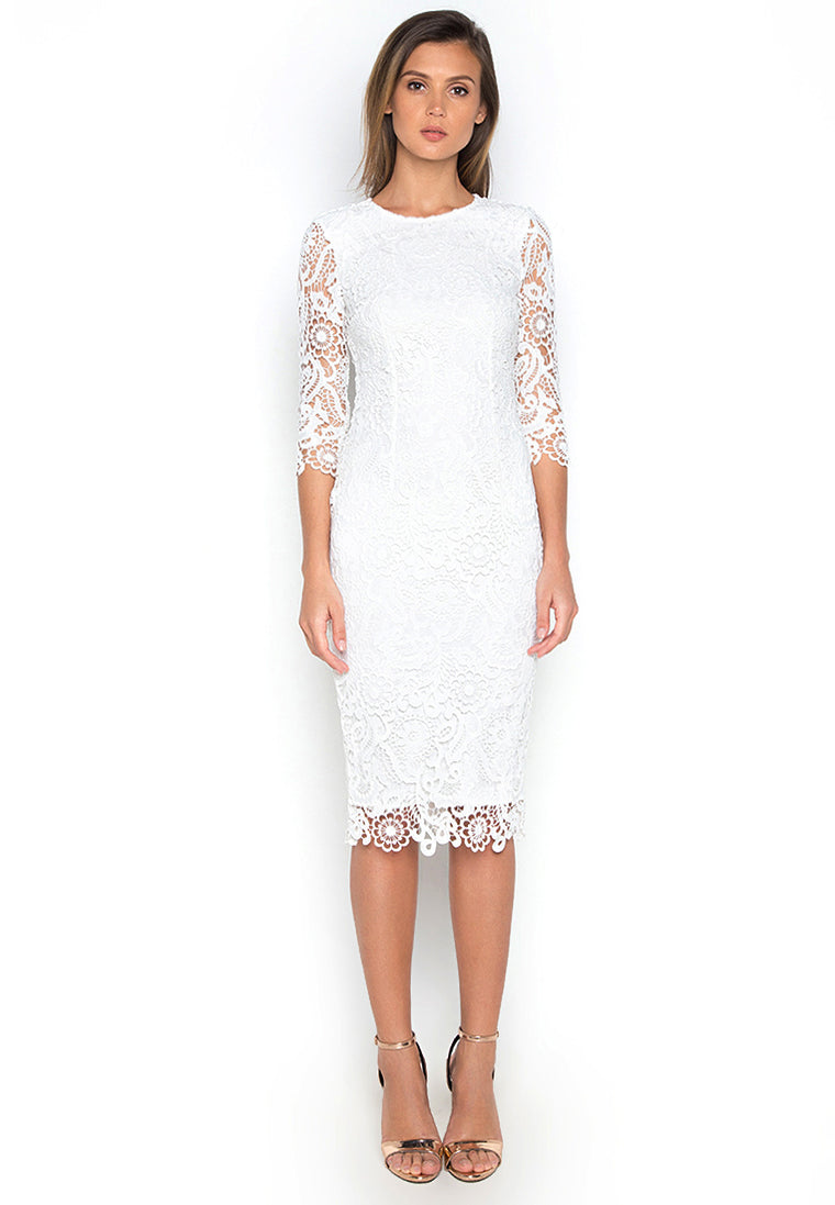 Chaste White Midi Lace Dress