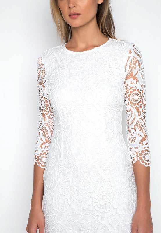 Long Sleeve Crochet Dress closeup