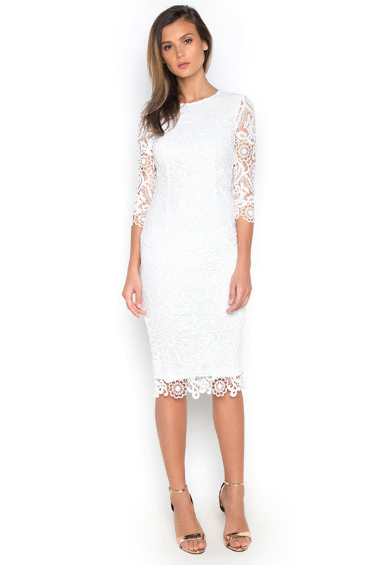 Long Sleeve Crochet Dress frontside