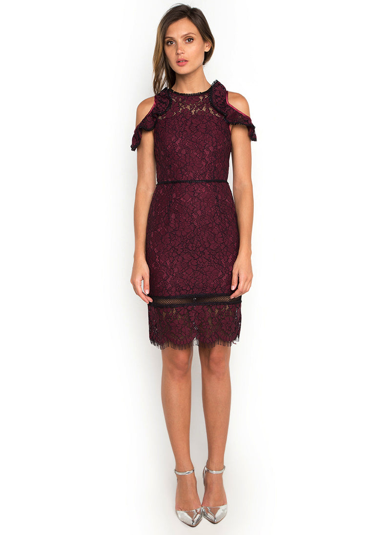 Deep Ruby Lace Ruffled Dress