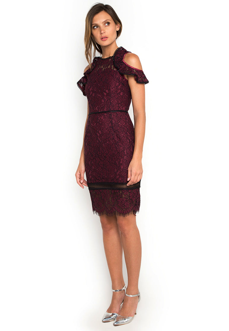 Ruffled Wine Lace Dress nomodel