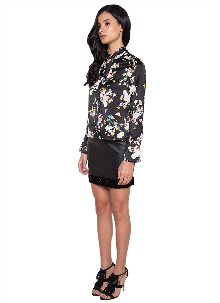 Floral Printed Casual Shirt (Black)