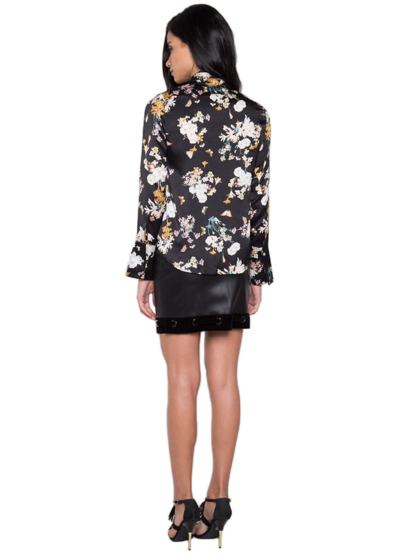 Mineko Black Floral Silk Top
