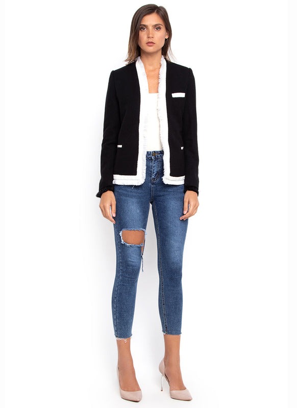 Black and White Fringed Blazer