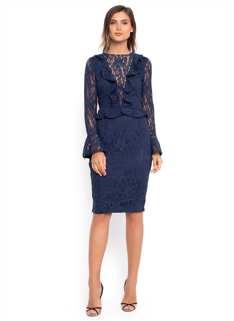Navy Ruffle Lace Dress