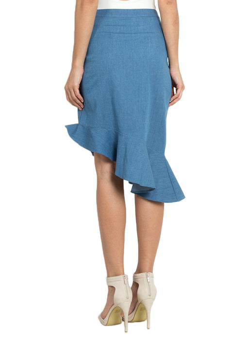 Denim Flounce Asymmetric Skirt