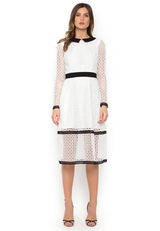 White Contrast Crochet Midi Dress