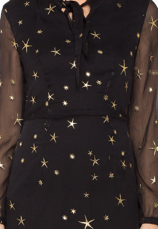 Black Sheer Constellation Dress