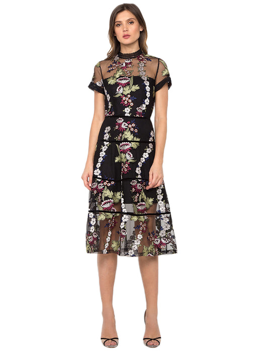 Cheongsam Embroidered Sheer Dress