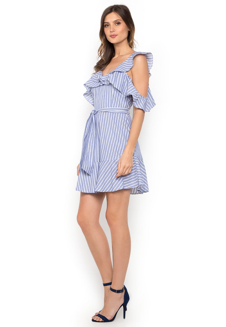 Light Blue Striped Ruffled Short Dress