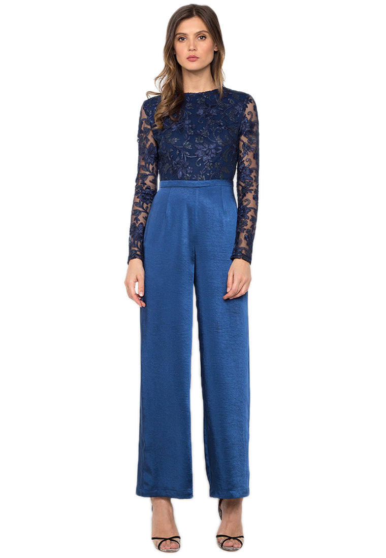 Yale Blue Lace Jumpsuit