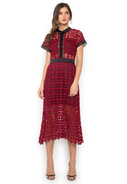Red Hollow Out Crochet Long Dress