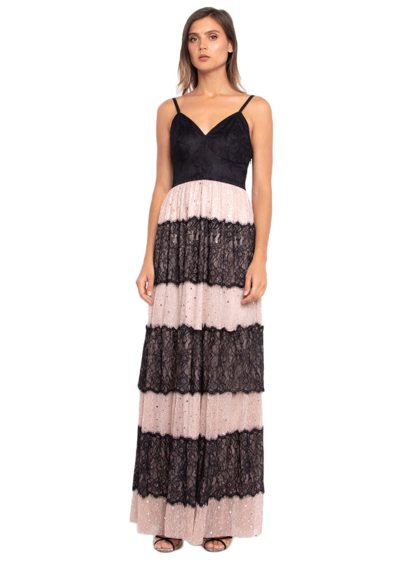 Contrast Laced Mesh Slip Long Dress